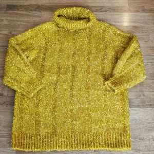Ugly Christmas Sweater Dress Cowl Neck Gold M
